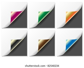 Set of four color curled corners of pages-Vector.