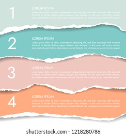 Set of four color infographics of torn paper with numbers and text, banner isolated on white background - vector