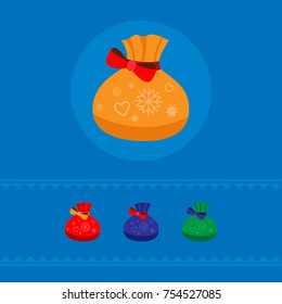 A set of four colored Christmas bags for gifts. On a blue background. Vector. The concept of a holiday.