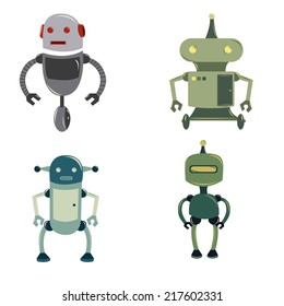 a set of four colored robots on a white background
