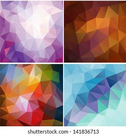 Set of four colorful abstract geometric background with triangular polygons. Colorful mosaic of triangle