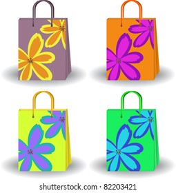set of four colorful bags with painted flowers