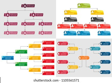 Set of four colorful business structure concept, corporate organization chart scheme with people icons. Vector illustration.