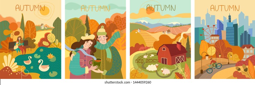 Set of four colorful depictions of autumn life with a young mother and daughter watching swans on a lake, man cycling through a city park, happy couple walking in a park and a flock of sheep on a farm