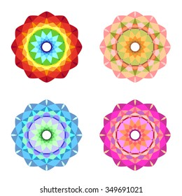 Set of four colorful mandalas. The colors of the rainbow, blue, pink, pale orange green eco style.