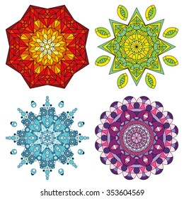 Set of four colorful vector mandala ornaments.