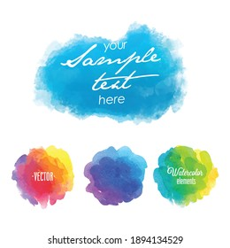 Set of four colorful watercolor stains isolated on white background