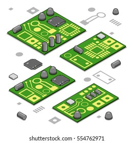 Set of four computer boards with assembled electronic components (isometric vector graphic)
