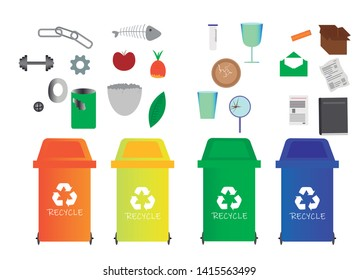 Set with four containers of different colors and examples of garbage for recycling, organic, metal, paper, cardboard and glass. different objects to throw to trash ka. vector, illustration.