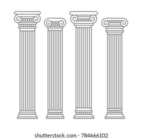 Set of four contour rome and greece antique columns and pilars. Vector contour illustration, isolated, flat style.