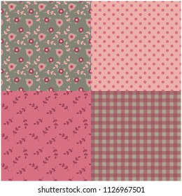 Set of four coordinating seamless pink and gray patterns inspired by a country quilt.