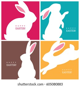 Set of four creative design concepts with white bunny silhouettes for Easter greeting card, banner or poster.
