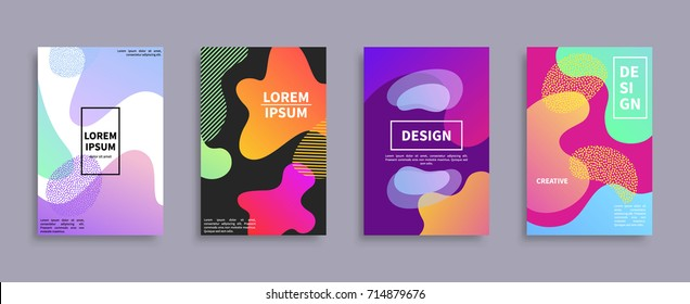 Set of four creative design covers with colorful blot variations, text sample, and creative title vector illustration isolated on grey