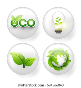 Set of four creative ecological elements in glossy circles.