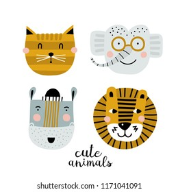 Set of four cute animal faces. Creative animal print lion, elephant, hippopotamus and cat. Vector Illustration. Scandinavian design.