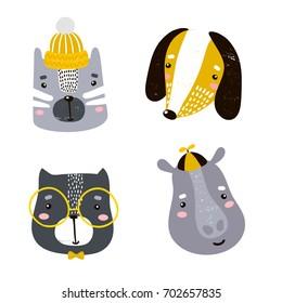 Set of four cute animal faces. Creative animal print cat, dog, hippo, bear, for nursery,apparel,cards. Vector Illustration