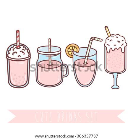 set four cute cartoon drinks on stock vector royalty free rh shutterstock com cartoon drinking cartoon drinking coffee