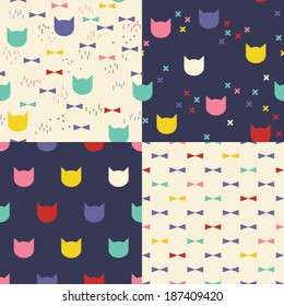 Set of four cute colorful patterns. Cats and bow ties. Kid's elements for scrap-booking.