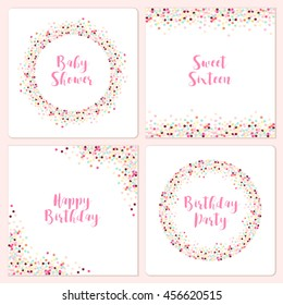 Set of four cute confetti frames for your decoration, can be used as baby shower, sweet sixteen or birthday invitation etc