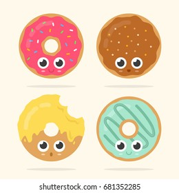 Set of four cute donuts with faces