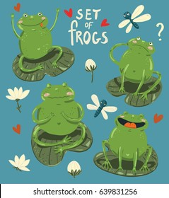Set of four cute frogs hand-draw in cartoon style with waterlily, hearts and dragonflies on blue background.  Vector children illustration.