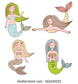 Set Of Four Cute Mermaids. Vector Illustration.