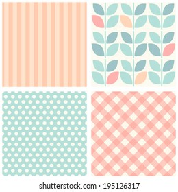 Set of four cute retro seamless backgrounds in pastel colors ideal for baby shower