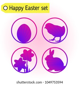 Set of four cute violet silhouettes for Easter greeting card, banner or poster design. Rabbit icon, chick icon, egg icon, narcissus icon. Vector eps 10.