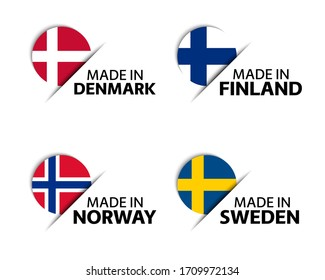 Set of four Danish, Finnish, Norwegian and Swedish stickers. Made in Denmark, Made in Finland, Made in Norway and Made in Sweden. Simple icons with flags isolated on a white background