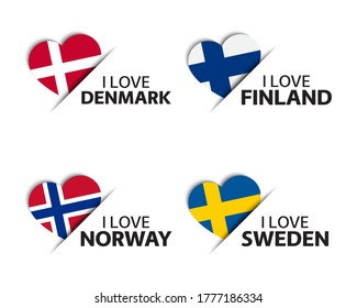 Set of four Danish, Finnish, Norwegian and Swedish heart shaped stickers. Made in Denmark, Finland, Norway and Sweden. Made in Denmark. Simple icons with flags isolated on a white background