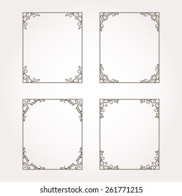 Set of four decorative floral frames and page decorations. Vector illustration