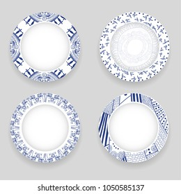 Set of four decorative porcelain dishes with  ethnic pattern in the ethnic style. Vector illustration