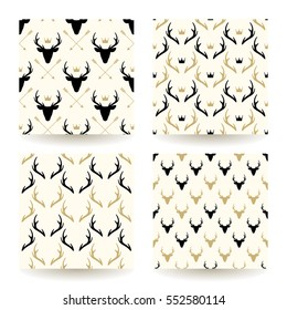 Set of four deer heads and horns patterns. Wild animal background collection