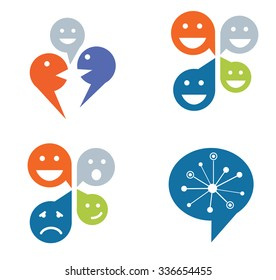 Set of four designs for social networking concept