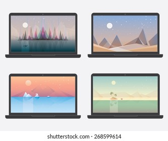 set of four desktop wallpaper landscape illustration designs. Northern lights aurora borealis, sand desert, arctic sea with polar bear, desert island. Abstract geometric minimalistic compositions