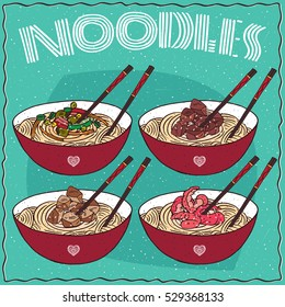 Set of four different Chinese noodles in red bowl, known as Ramen or Udon and elegant chopsticks, Kuaizi or Hashi. With vegetables, beef, chicken, shrimp. Hand drawn. Vector illustration