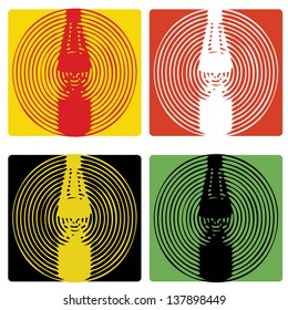 A set of four different coloured abstract sauce bottle graphics