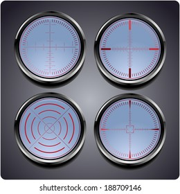 Set of four different crosshairs on a weapon or scientific instrument allowing calibration and precision focusing