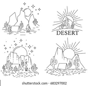 Set of four different desert landscape. Dayly and nightly desert in line art style black and white outline. Vector illustrtion