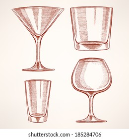 set of four different hand-drawn glasses for alcohol