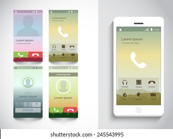 Set of four different modern Calling UI, UX and GUI template for Mobile Apps and Responsive website.