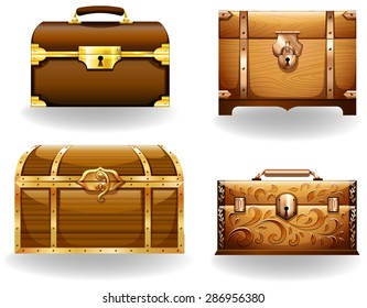 Set of four different styles of treasure chest