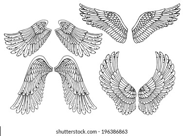 Set of four different vector angel wings in black and white outline in the open position for tattoo and use as design elements