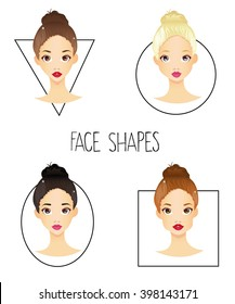Set of four different woman's face shapes