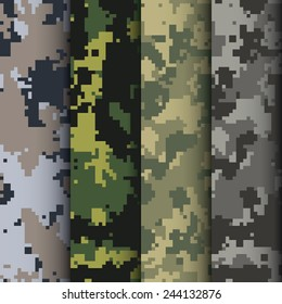 Set of four digital camo patterns vector
