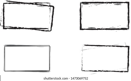 Set of four distressed, roughly textured hand drawn rectangular frames.