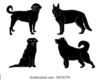 set of four dogs, vector background.