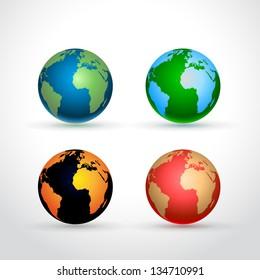 Set of four Earth globe icons - on light grey background