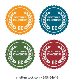 Set of four editors choice badges isolated on a white background