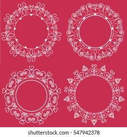 Set of four elegant monogram templates made with vintage heart shapes